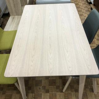 ダイニングテーブルセット(チェア2色)木目調テーブル(展示品☆美品) - 福岡市