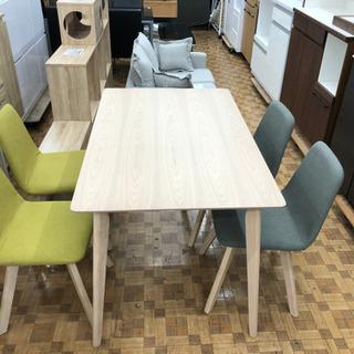 ダイニングテーブルセット(チェア2色)木目調テーブル(展示品☆美品)