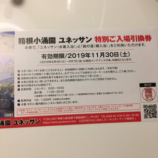 ✩箱根ユネッサン特別ご入場引換券3枚セット✩
