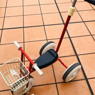 【お値下げしました】無印良品 三輪車・舵取り棒&カゴ付き レッド