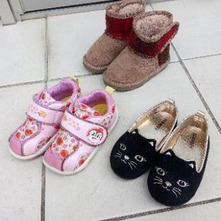 女の子靴セット、サイズ14cm(ハリスツイード赤、OLDNAVY...