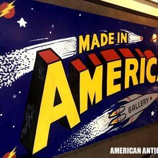 迫力!!大型244cm 木製看板★アメリカン・アーティストペイン...