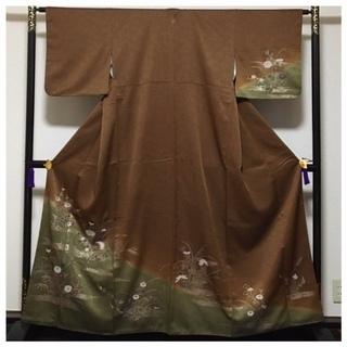 美品 高級呉服 ゆったりサイズ 極上 正絹 訪問着 茶 漆箔 ...