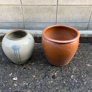 かめ、陶器、2個セット