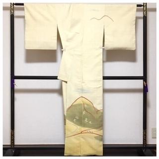 美品 高級呉服 真綿紬 訪問着 身丈159 裄6.5 極上 正絹 紬 袷 中古品 - 川口市