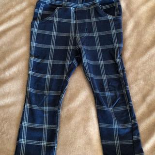 キッズ ネイビーチェックパンツ 90 丸高衣料 スリムフィット