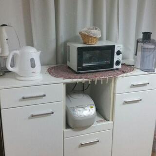 白家具 キャビネット キャスター付き キッチン収納
