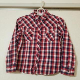 女の子 シャツ 130cm チェック 赤