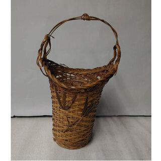 c328 竹製 花入れ 竹籠 竹編み花入れ