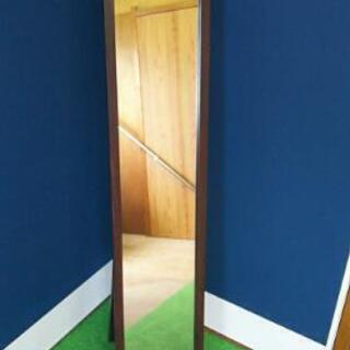 スタンドミラー 天然木フレーム 鏡面 ブラウン 全身鏡 姿見鏡