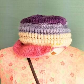 syo21さん、手編みのキャスケット、ニット帽、ヘアゴム入荷しました!