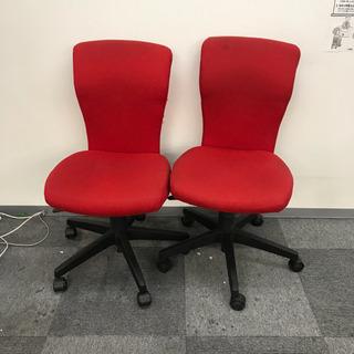 オフィスチェア椅子 赤色 二つセット