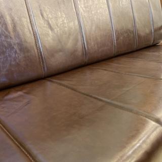 ソファ ベンチタイプ 3人掛け 3.0P 茶 格安 中古品 - 家具