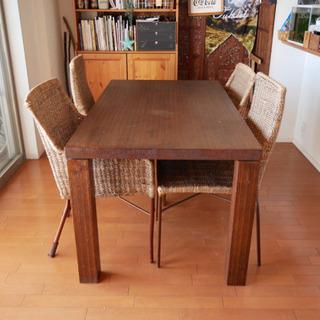 【アジアン風家具】ダイニングテーブルセット4人用