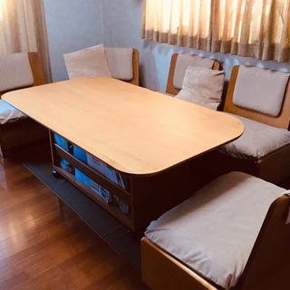 ダイニングテーブル キャスター付きテーブル ベンチ収納