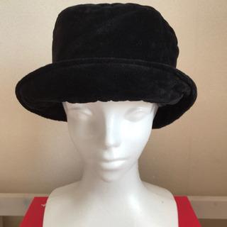 【約59cm】ツバつき帽子 ビロード 黒