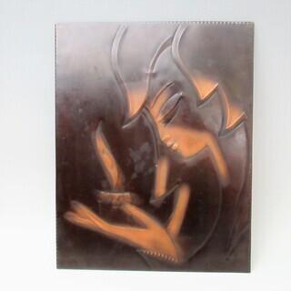 ソヴィエト ヴィンテージ雑貨  銅板の古い壁掛け 女性とキ…