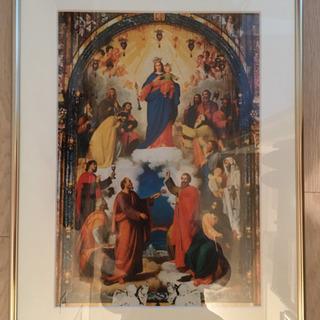 【中古】カトリックの写真(絵)額縁+メダイやキーホルダー、ロザリ...