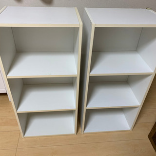 3段カラーボックス 2点セット(ホワイト)