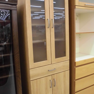 木目調食器棚 食器棚 お洒落な食器棚 幅:58.5㎝ 苫小牧西店
