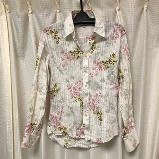 シャツ 花柄 L メンズ スリムシャツ ホワイト 長袖 カ…