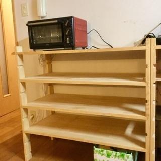 木製棚板可動式収納棚 1台
