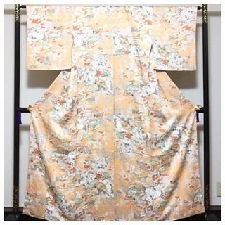 美品 身丈161 裄64.5 正絹 極上 袷 小紋 薄いオレン...