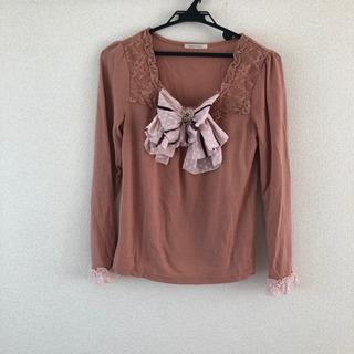 axes femme リボン付き長袖トップス(ピンク)の画像