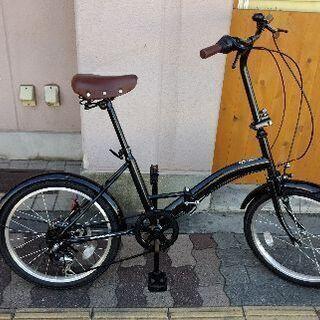 20吋 折り畳み自転車 外装6段/ブラック