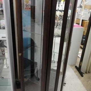 木製ショーケース ガラス扉 ガラス棚 高さ 約151センチ【ユー...