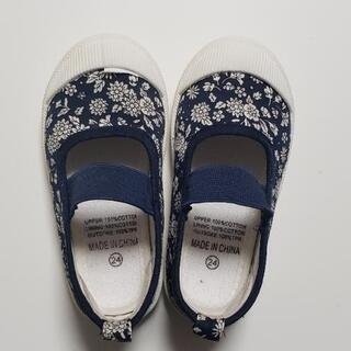 上履き 15㎝ ネイビー花柄