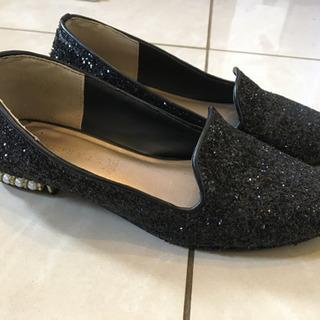 値下げ‼️黒ラメ、パールのお洒落な靴、M − 神奈川県
