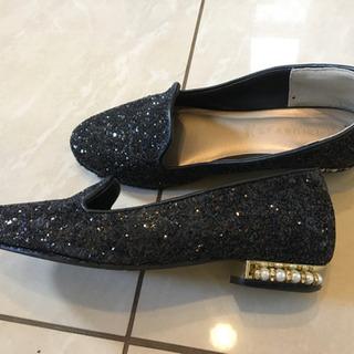 値下げ‼️黒ラメ、パールのお洒落な靴、Mの画像