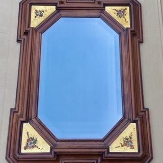 <美品>イタリア製・壁掛けウォールミラー・八角鏡