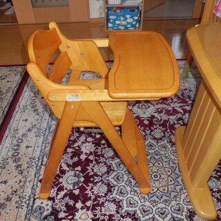木製ハイチェア(テーブル付き・折りたたみ)