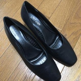 25cm EEE aqua lady 本革 パンプス 黒 150...