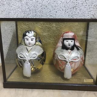 姫だるま 一対 姫達磨 夫婦達磨 日本人形 ガラスケース付