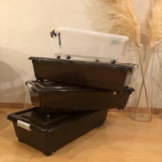 ベッド下収納 プラケース4こセット プラスチックケース 収納ボックス