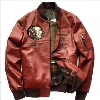 最上級羊革100%豪華刺繍 天然皮革◆ライダース/ジャケット/ブ...