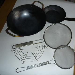 中華鍋、ミニフライパン、網じゃくし、天ぷら油落とし5点セット