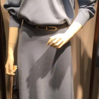 【新品】ラウンジドレス 総針ニットワンピース  ブルー