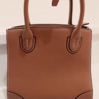 茶色 本革牛革ハンドバッグ