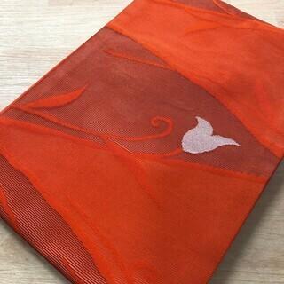 帯 正絹 オレンジ 橙 リサイクル 着物 ハンドメイド MM100