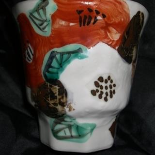 芳洲窯 和田一人作 手造り 手描き 陶器 美濃焼の椿柄湯呑 − 愛知県