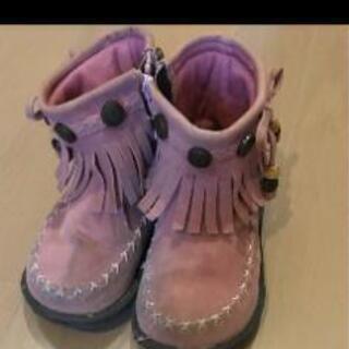 ブーツ子供16センチフリンジ