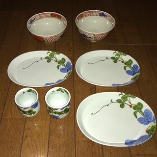 [有田焼_基泉釜]  湯呑みセット / 和皿 3 / 麺鉢 2(美品)