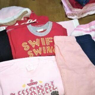 女の子用 子供服サイズ80長袖+コ-ト(一部記名あり)