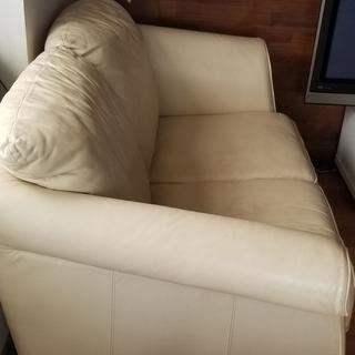 🔴革張り 二人掛け - 家具