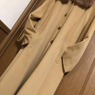 ブルーフォックスファー🦊キャメル色コート  ウール100%