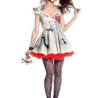 ヴィードゥ人形のハローウィンコスチューム (スカート+ワンピース)